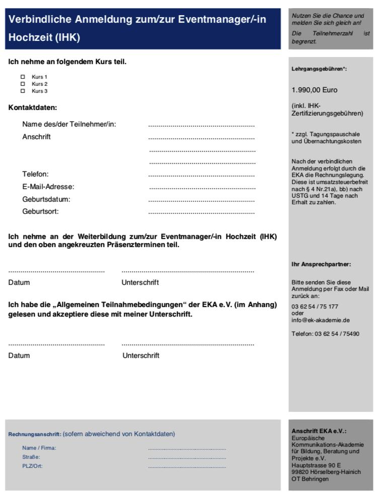 Ausbildung Hochzeitsplaner Zertifikat IHK Anmeldeformular Vorschau